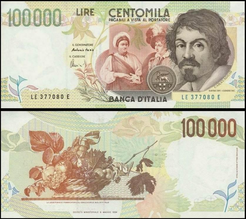 100000 lire banknote caravaggio