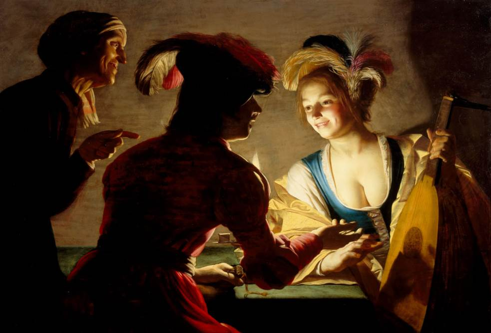 The procuress by van Honthorst, 1625